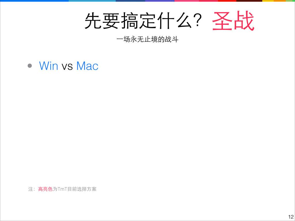 先要搞定什么? !12 圣战 ⼀一场永⽆无⽌止境的战⽃斗 • Win vs Mac 注:⾼高亮...