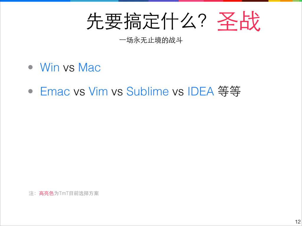 先要搞定什么? !12 圣战 ⼀一场永⽆无⽌止境的战⽃斗 • Emac vs Vim vs S...