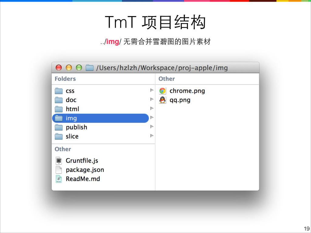 TmT 项⺫⽬目结构 !19 ../img/ ⽆无需合并雪碧图的图⽚片素材