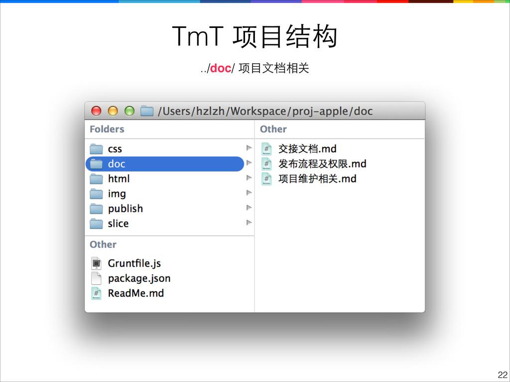 TmT 项⺫⽬目结构 !22 ../doc/ 项⺫⽬目⽂文档相关