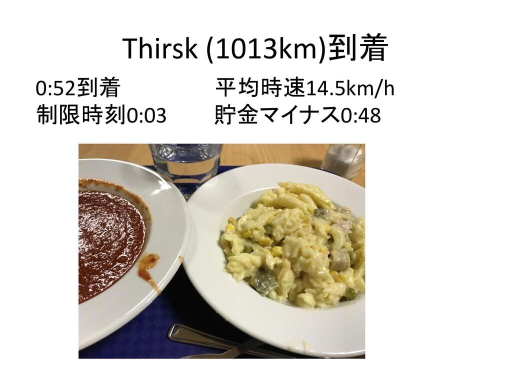 Thirsk (1013km)到着 0:52到着 平均時速14.5km/h 制限時刻0:03 ...