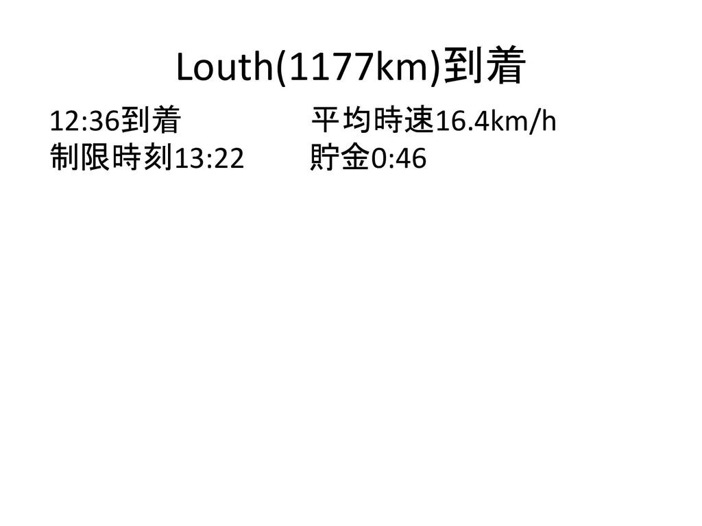 Louth(1177km)到着 12:36到着 平均時速16.4km/h 制限時刻13:22 ...