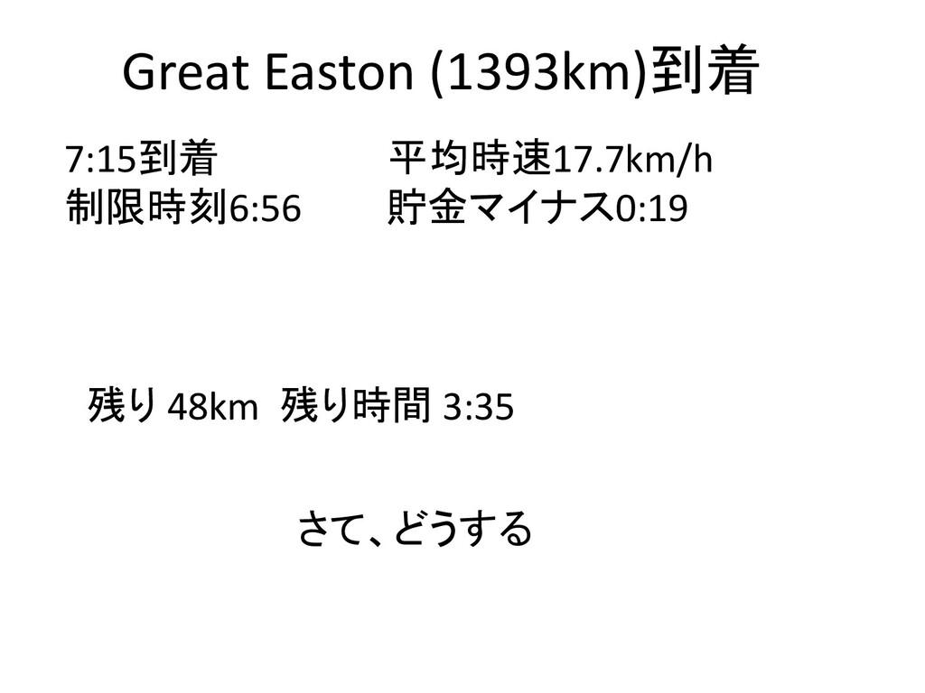 Great Easton (1393km)到着 7:15到着 平均時速17.7km/h 制限時...