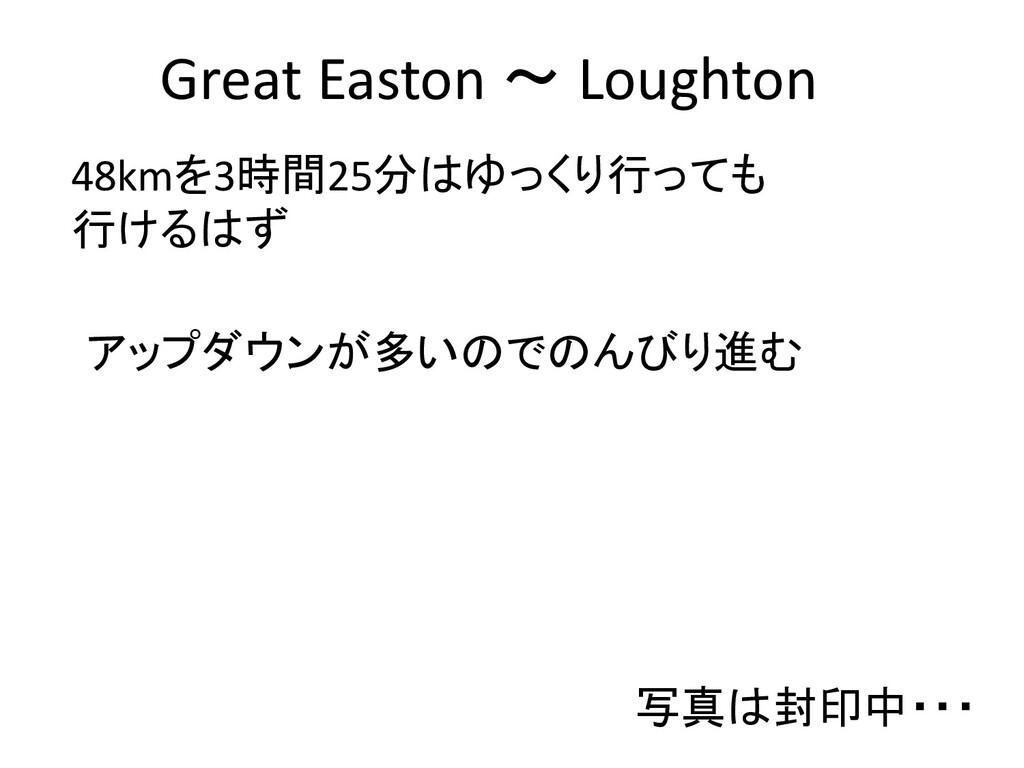 Great Easton ~ Loughton 48kmを3時間25分はゆっくり行っても 行け...