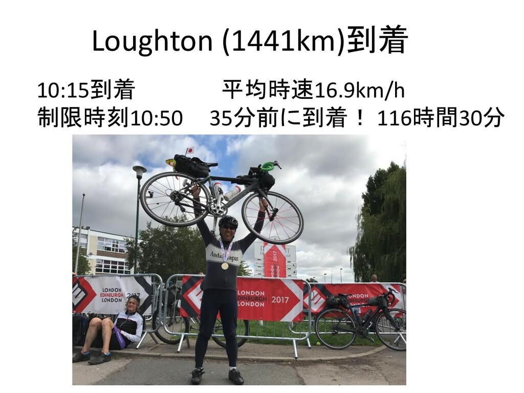 Loughton (1441km)到着 10:15到着 平均時速16.9km/h 制限時刻10...
