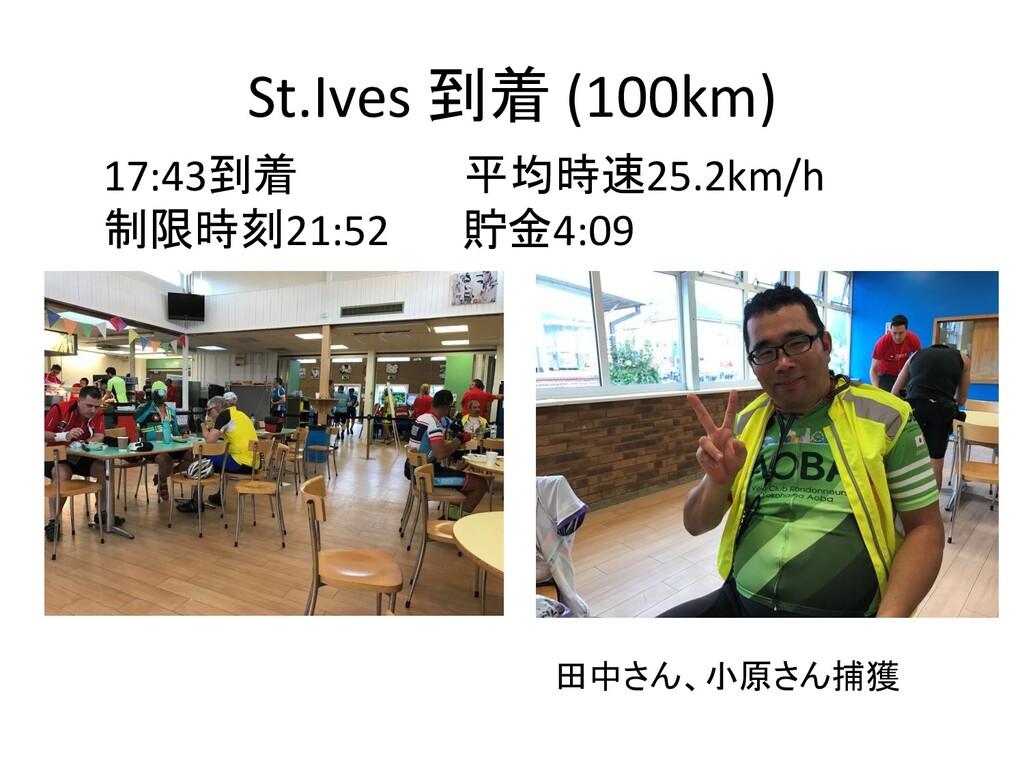 St.Ives 到着 (100km) 17:43到着 平均時速25.2km/h 制限時刻21:...