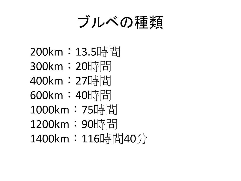 ブルベの種類 200km:13.5時間 300km:20時間 400km:27時間 600km...