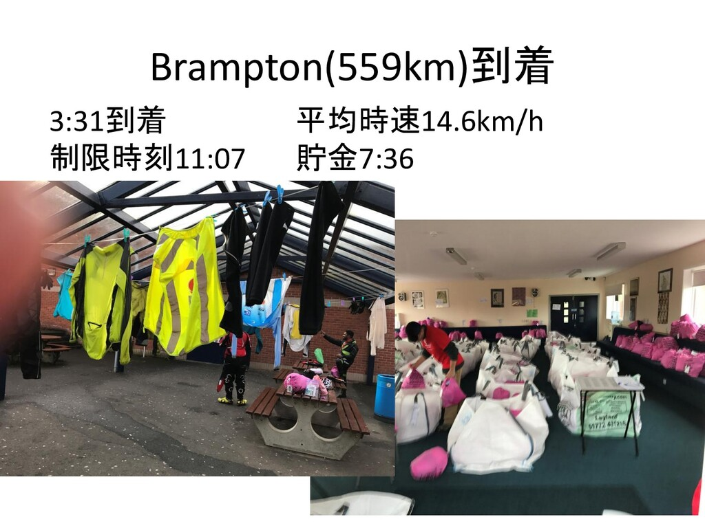 Brampton(559km)到着 3:31到着 平均時速14.6km/h 制限時刻11:07...