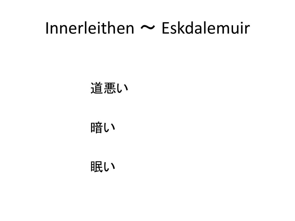 Innerleithen ~ Eskdalemuir 道悪い 暗い 眠い
