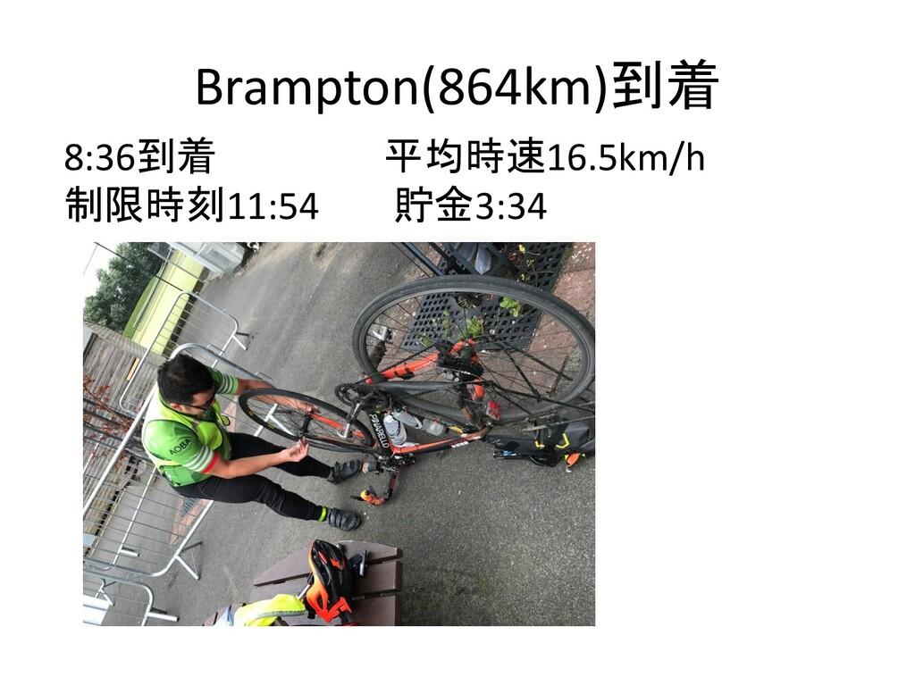 Brampton(864km)到着 8:36到着 平均時速16.5km/h 制限時刻11:54...