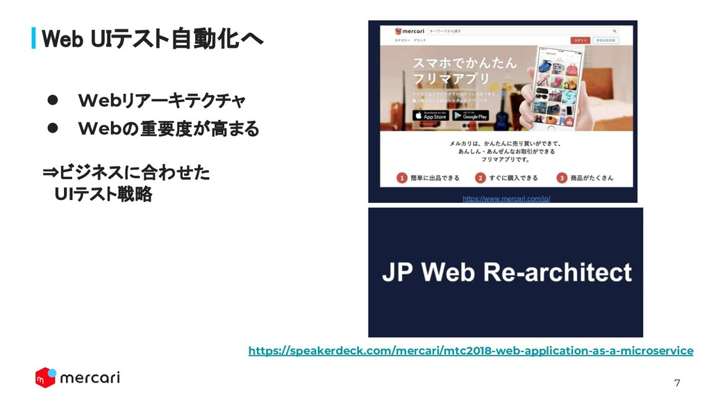 7 Confidential - Do Not Share Web UIテスト自動化へ ● W...