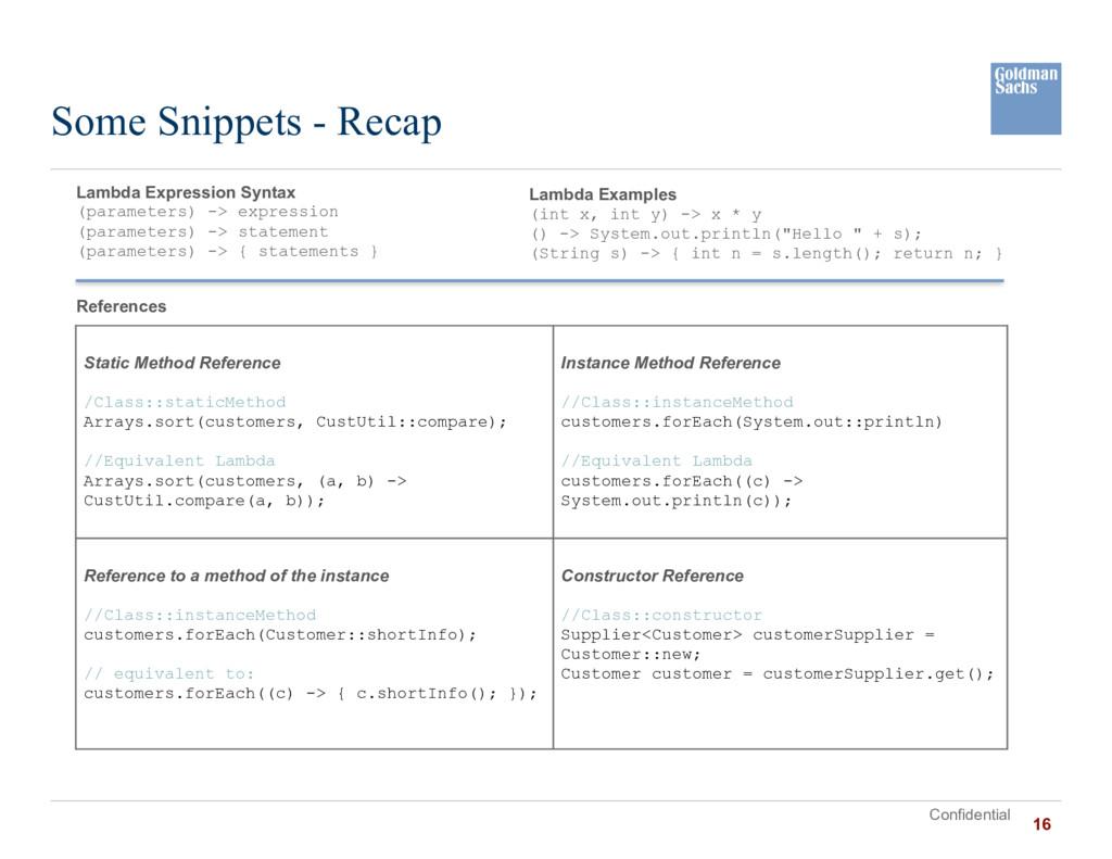 Confidential Some Snippets - Recap Lambda Expre...