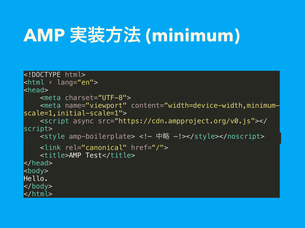 AMP ࣮ํ๏ (minimum) <!DOCTYPE html> <html ⚡ lang...