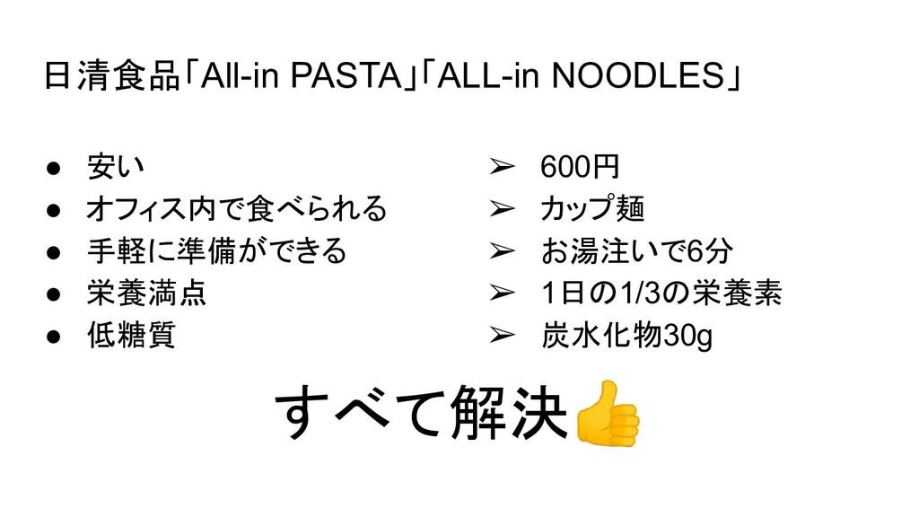 日清食品「All-in PASTA」「ALL-in NOODLES」 ● 安い ● オフィス内...