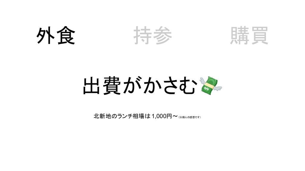 出費がかさむ 外食 持参 購買 北新地のランチ相場は 1,000円~(※個人の感想です)