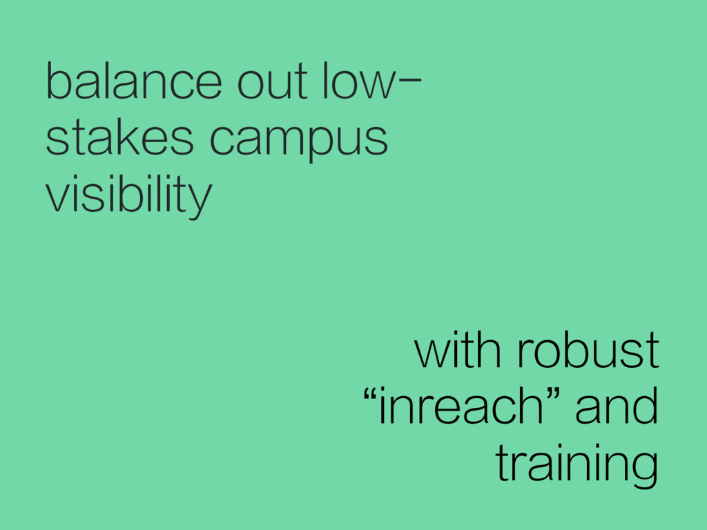 balance out low- stakes campus visibility with ...
