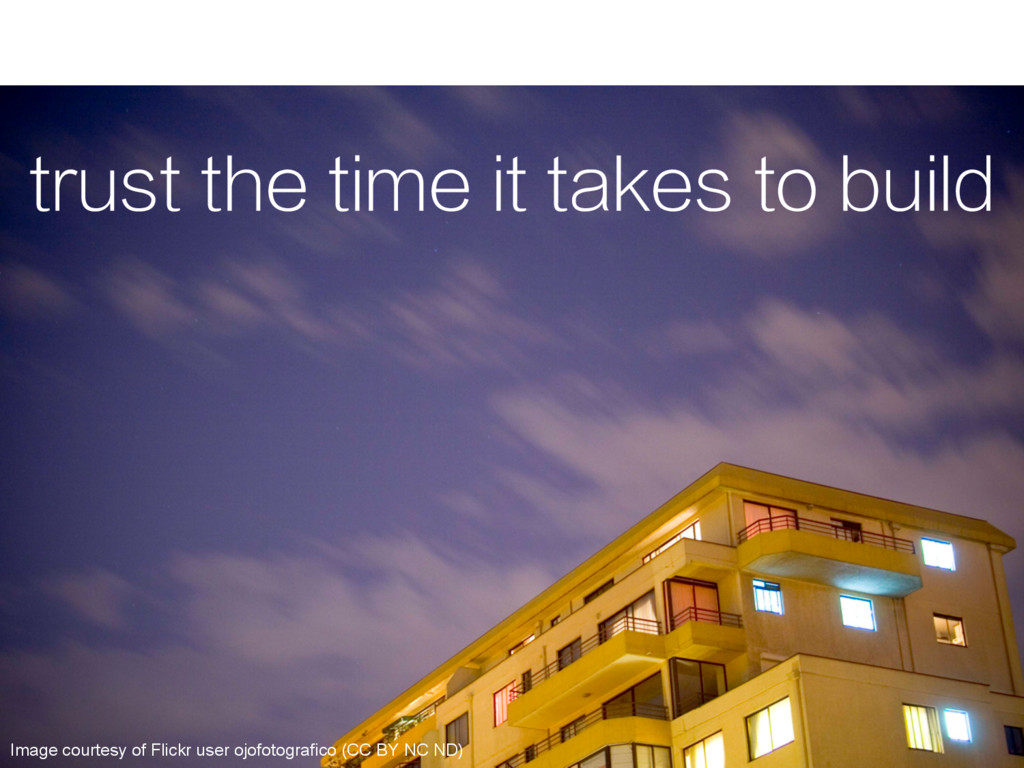 trust the time it takes to build Image courtesy...
