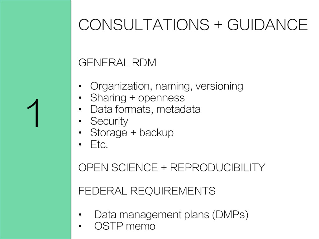 CONSULTATIONS + GUIDANCE GENERAL RDM • Organiz...