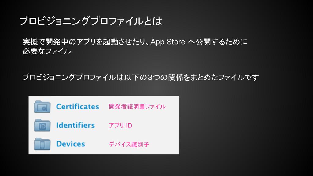 実機で開発中のアプリを起動させたり、App Store へ公開するために 必要なファイル プロ...