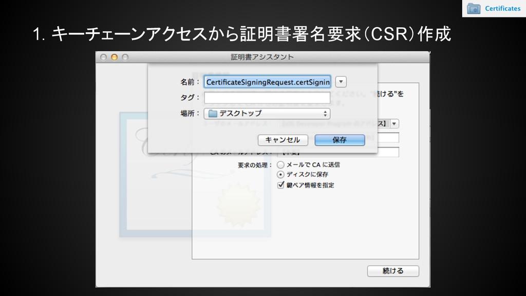 1. キーチェーンアクセスから証明書署名要求(CSR)作成