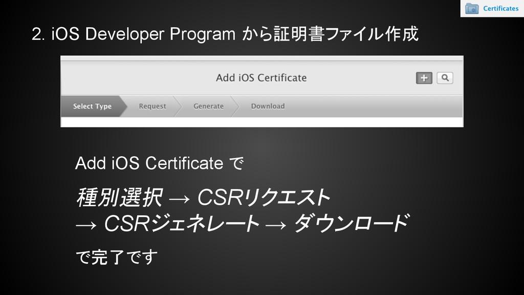 2. iOS Developer Program から証明書ファイル作成 Add iOS Ce...