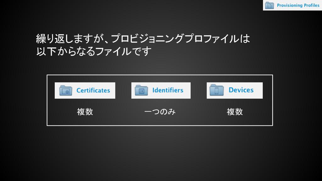 繰り返しますが、プロビジョニングプロファイルは 以下からなるファイルです 複数 複数 一つのみ