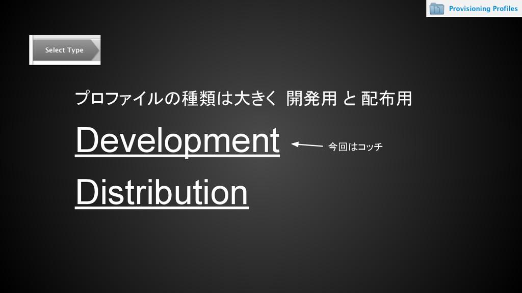 プロファイルの種類は大きく 開発用 と 配布用 Development Distributio...