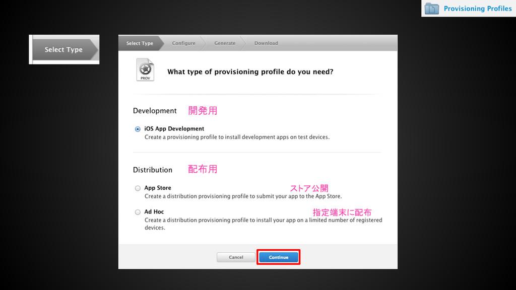 開発用 配布用 ストア公開 指定端末に配布