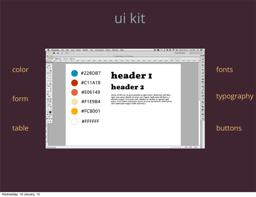 ui kit color form table fonts typography button...