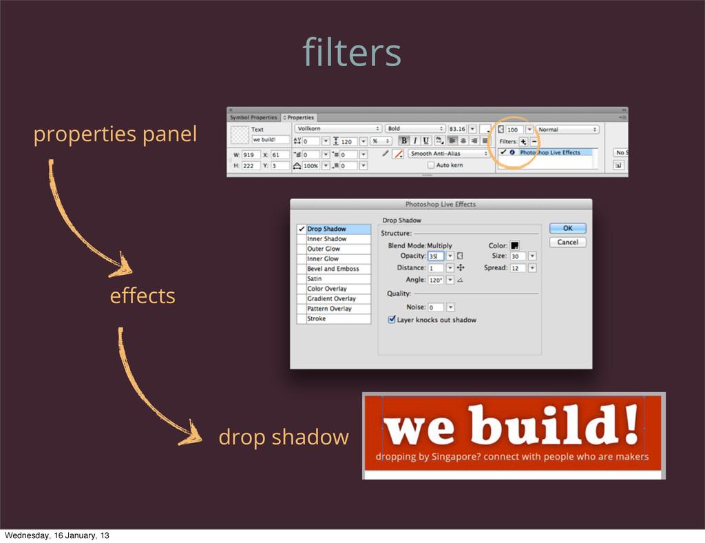 filters properties panel effects drop shadow Wedn...