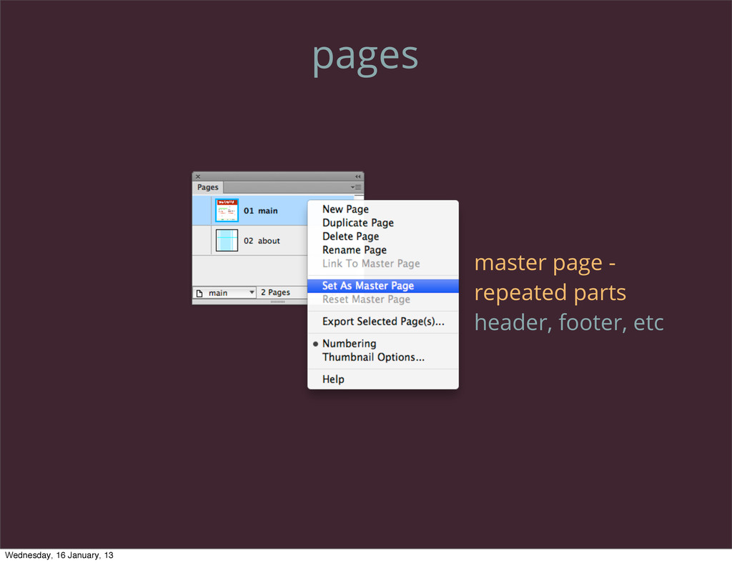 pages master page - repeated parts header, foot...