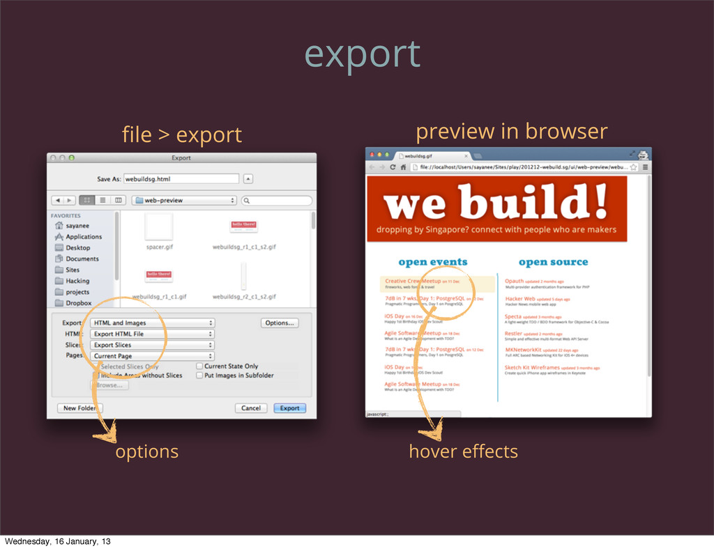 export file > export preview in browser options ...