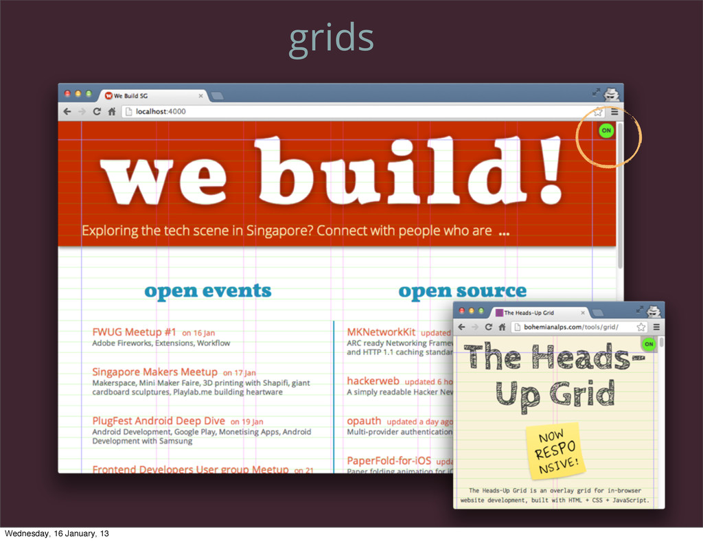 grids Wednesday, 16 January, 13