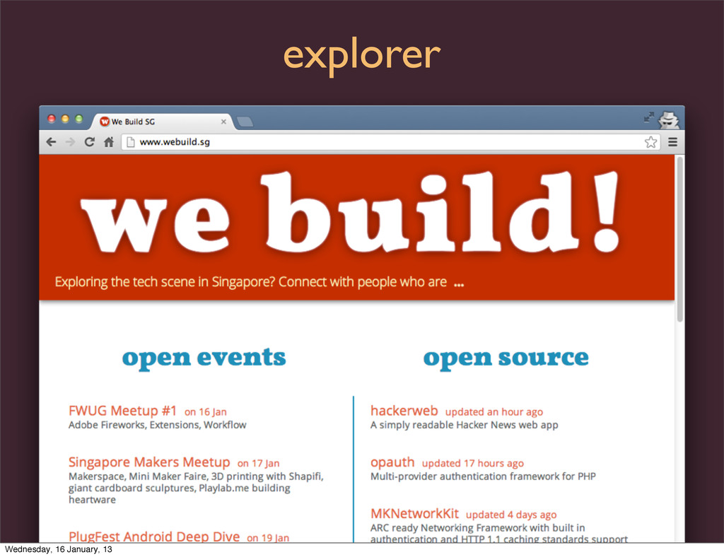 explorer Wednesday, 16 January, 13