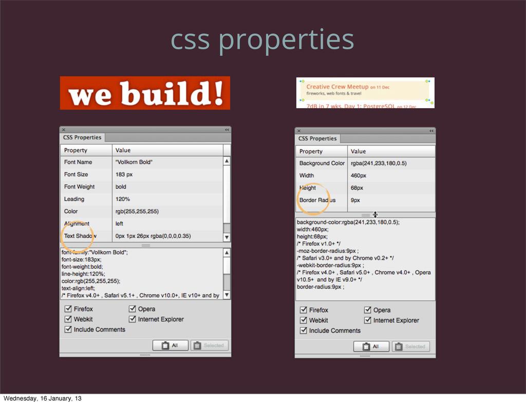 css properties Wednesday, 16 January, 13