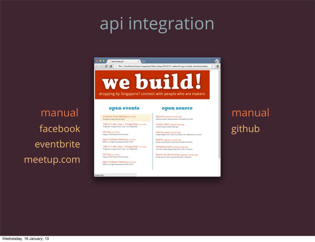 api integration github facebook eventbrite meet...