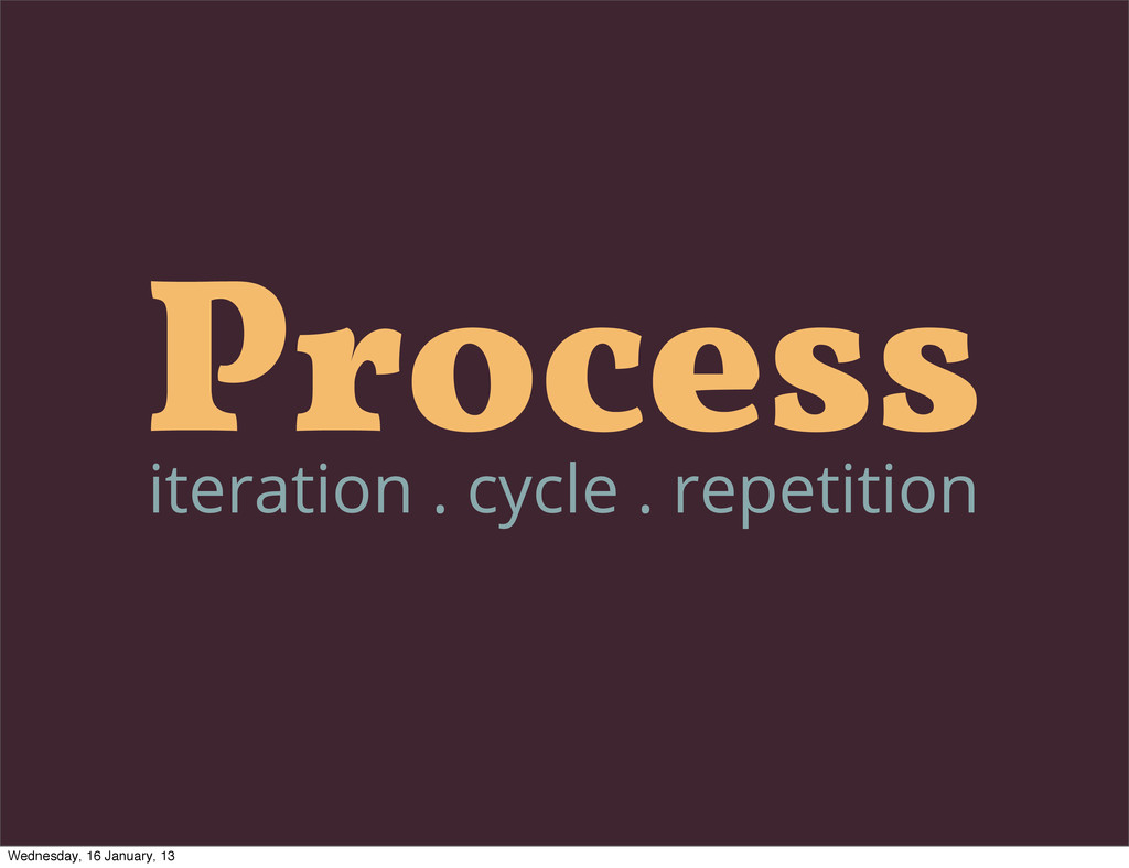 Process iteration . cycle . repetition Wednesda...