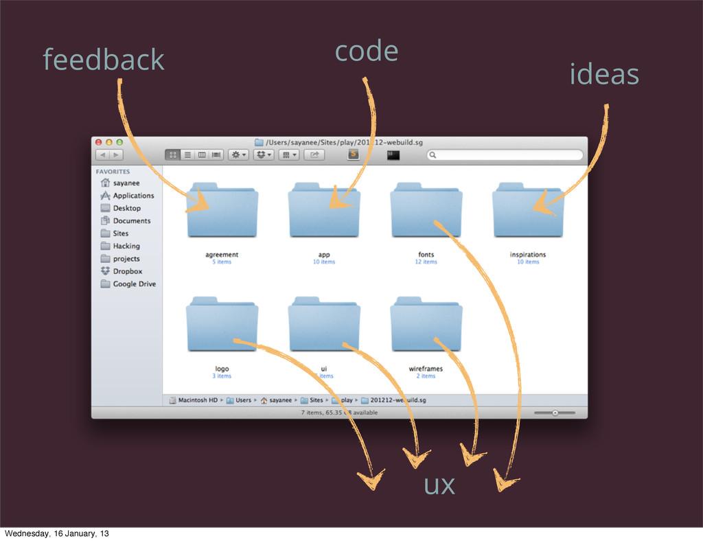 ideas ux code feedback Wednesday, 16 January, 13