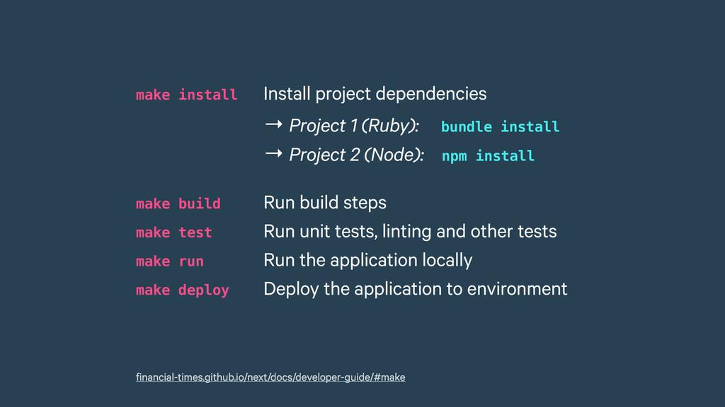 make install Install project dependencies make...
