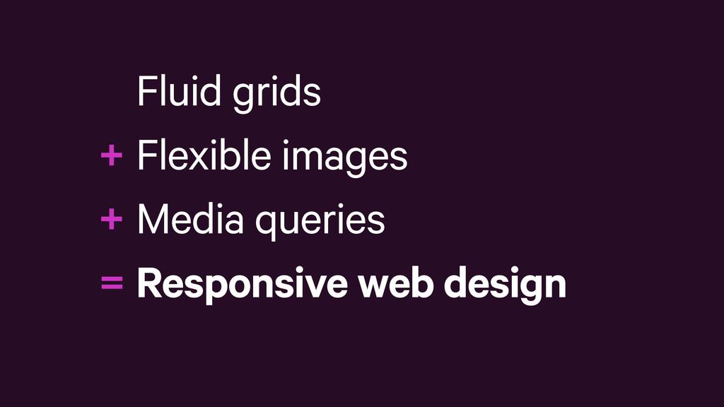 Fluid grids Flexible images Media queries Respo...