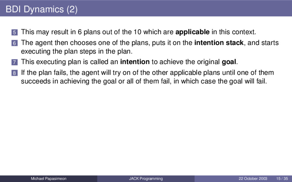 BDI Dynamics (2) 5 This may result in 6 plans o...