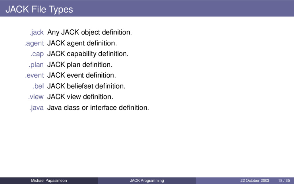 JACK File Types .jack Any JACK object definition...