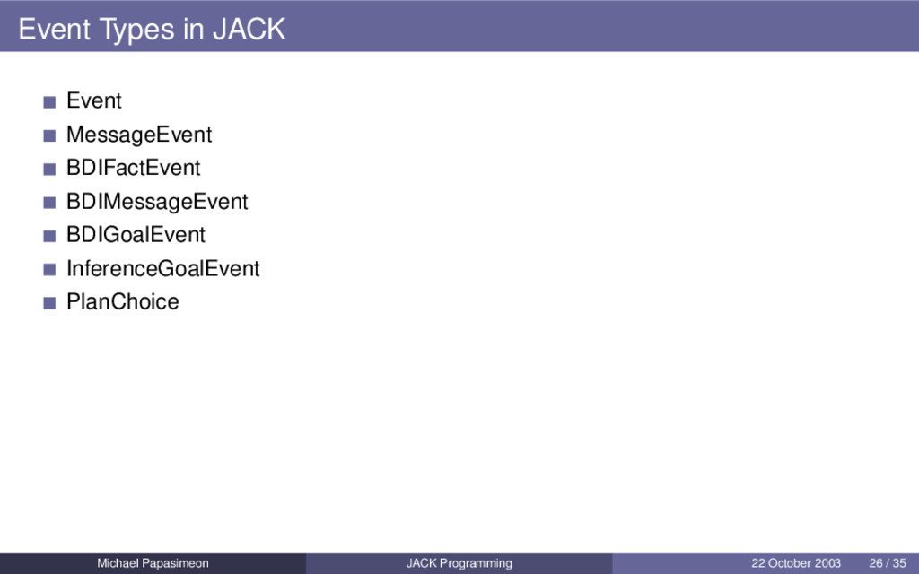 Event Types in JACK Event MessageEvent BDIFactE...