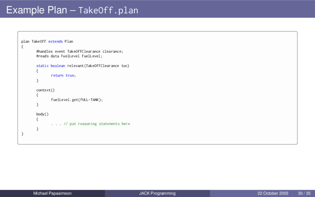 Example Plan – TakeOff.plan plan TakeOff extend...