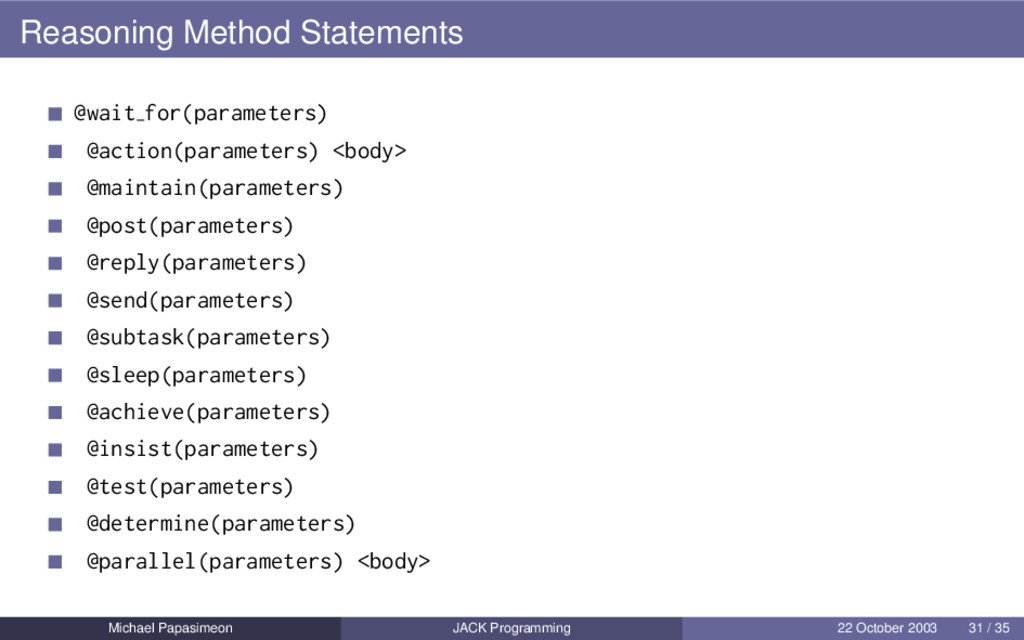 Reasoning Method Statements @wait for(parameter...