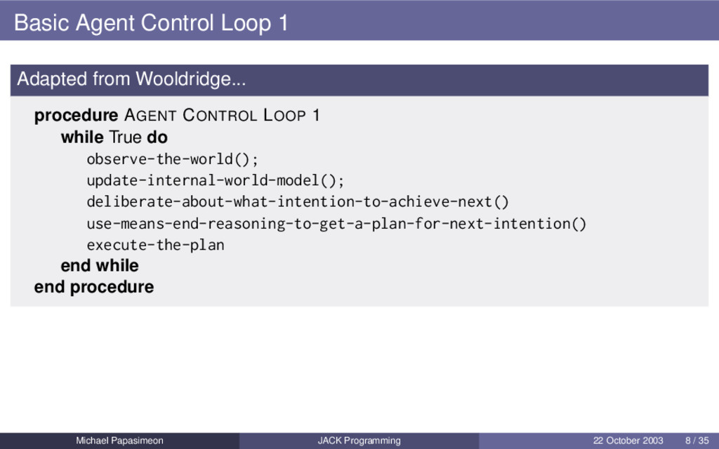 Basic Agent Control Loop 1 Adapted from Wooldri...