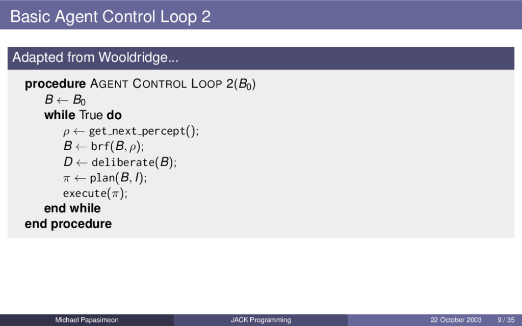 Basic Agent Control Loop 2 Adapted from Wooldri...