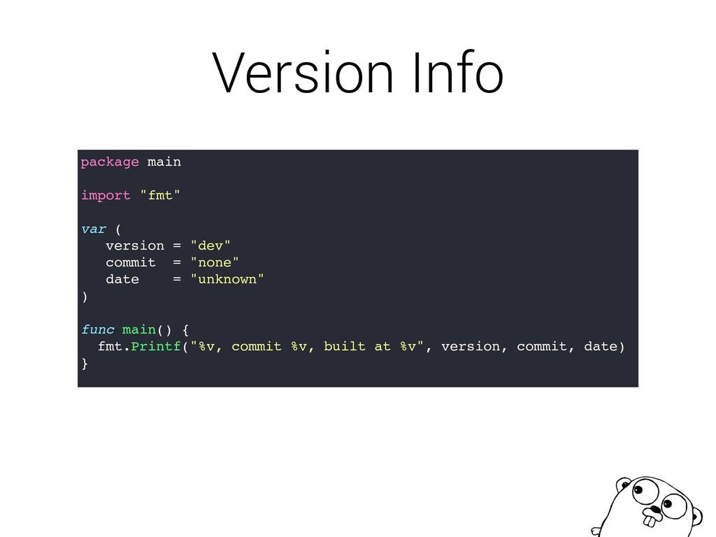 """Version Info package main import """"fmt"""" var ( ve..."""