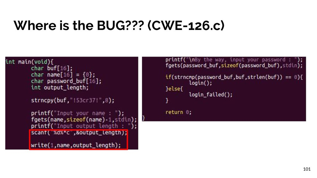 Where is the BUG??? (CWE-126.c) 101