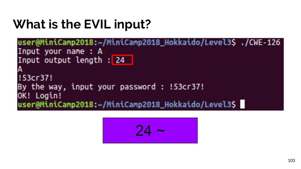 What is the EVIL input? 24 ~ 103